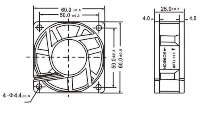 Axialfläkt 12 V 60x60x25 mm