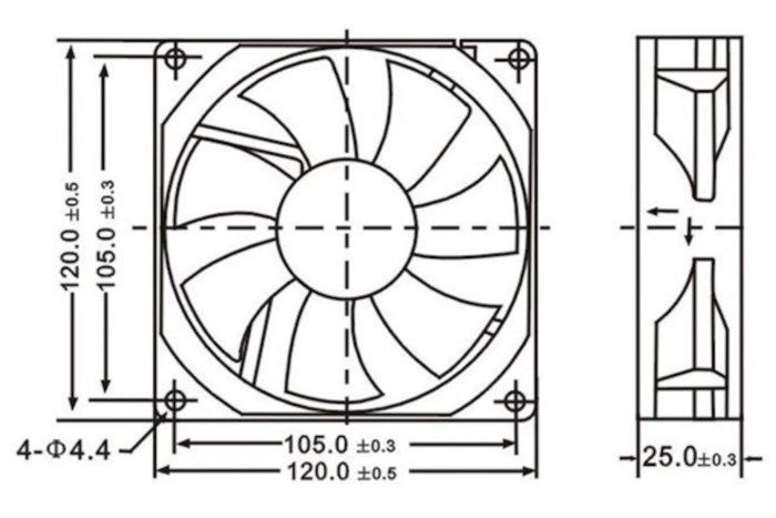 Axialfläkt 12 V 120x120x25 mm