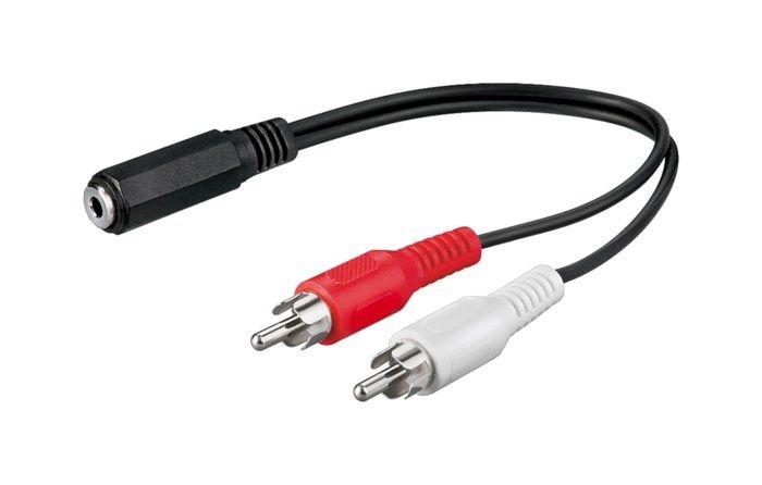 Adapterkabel 3,5 mm-hona till RCA 0,2 m