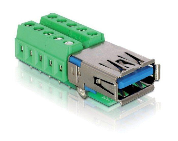 Terminalblock USB 3.0-hona. USB-kontakt med skruvplintar