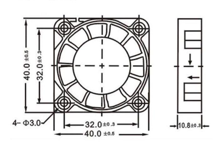 Axialfläkt 12 V 40x40x10 mm