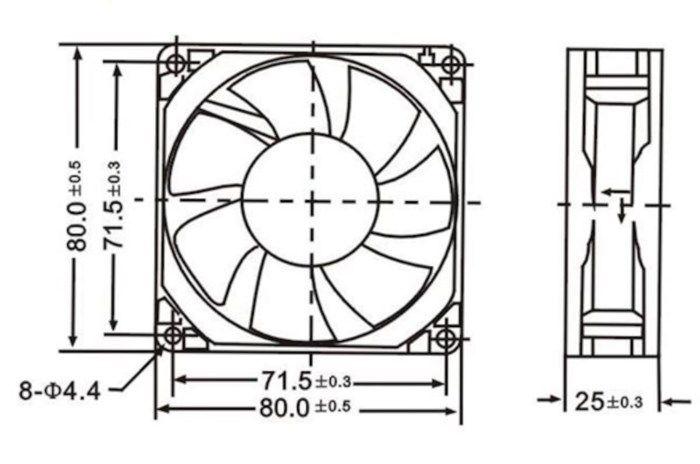 Axialfläkt 12 V 80x80x25 mm