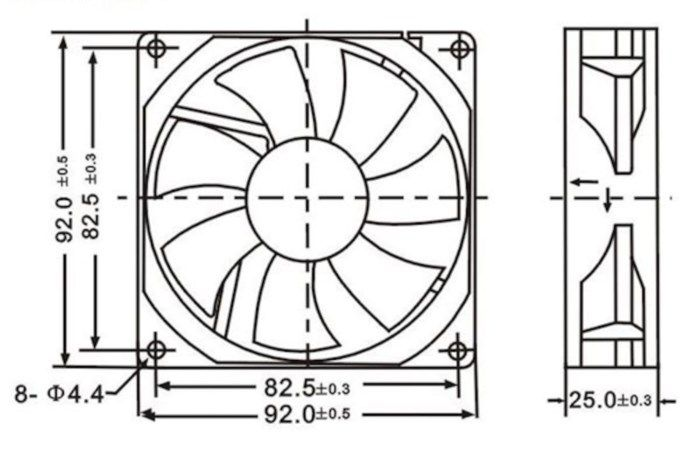 Axialfläkt 12 V 92x92x25 mm