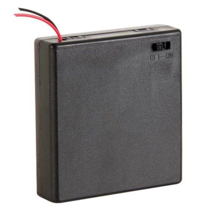 Batterihållare med switch för 4x AA