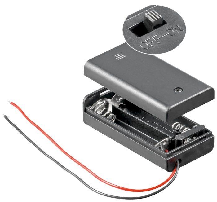 Batterihållare med switch för 2x AA