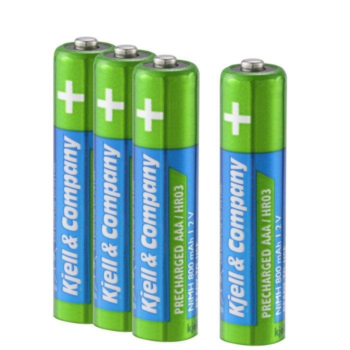 Kjell & Company Laddningsbara AAA-batterier 800 mAh 4-pack
