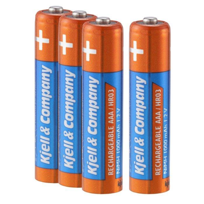 Kjell & Company Laddningsbara AAA-batterier 1000 mAh 4-pack