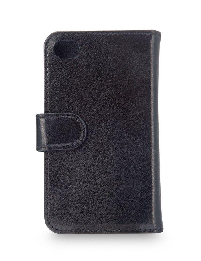Mobilplånbok i läder för iPhone 4 och 4s Svart