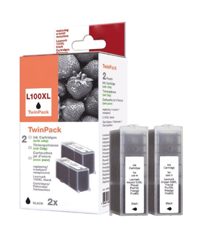 Peach Lexmark 100 Bläckpatron Svart 2-pack