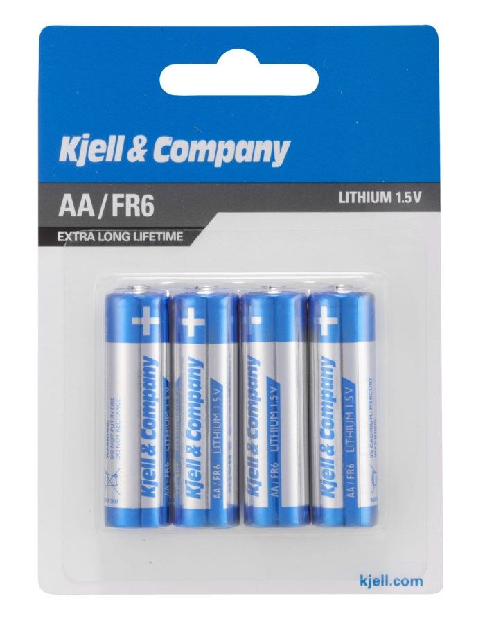 Kjell & Company AA-litiumbatterier 4-pack