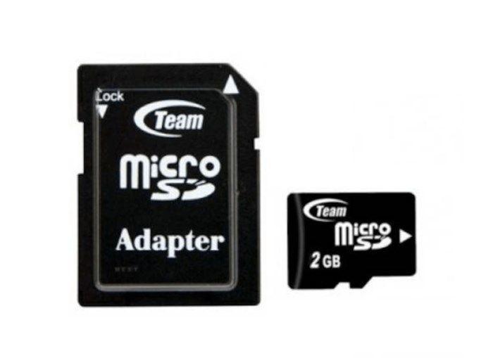 Micro-SD-kort 2 GB med SD-adapter