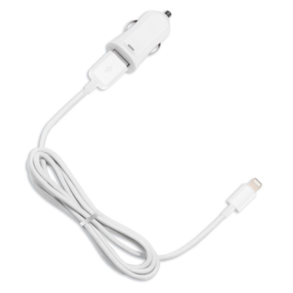Linocell iPad och iPhone billaddare Lightning kabel Vit