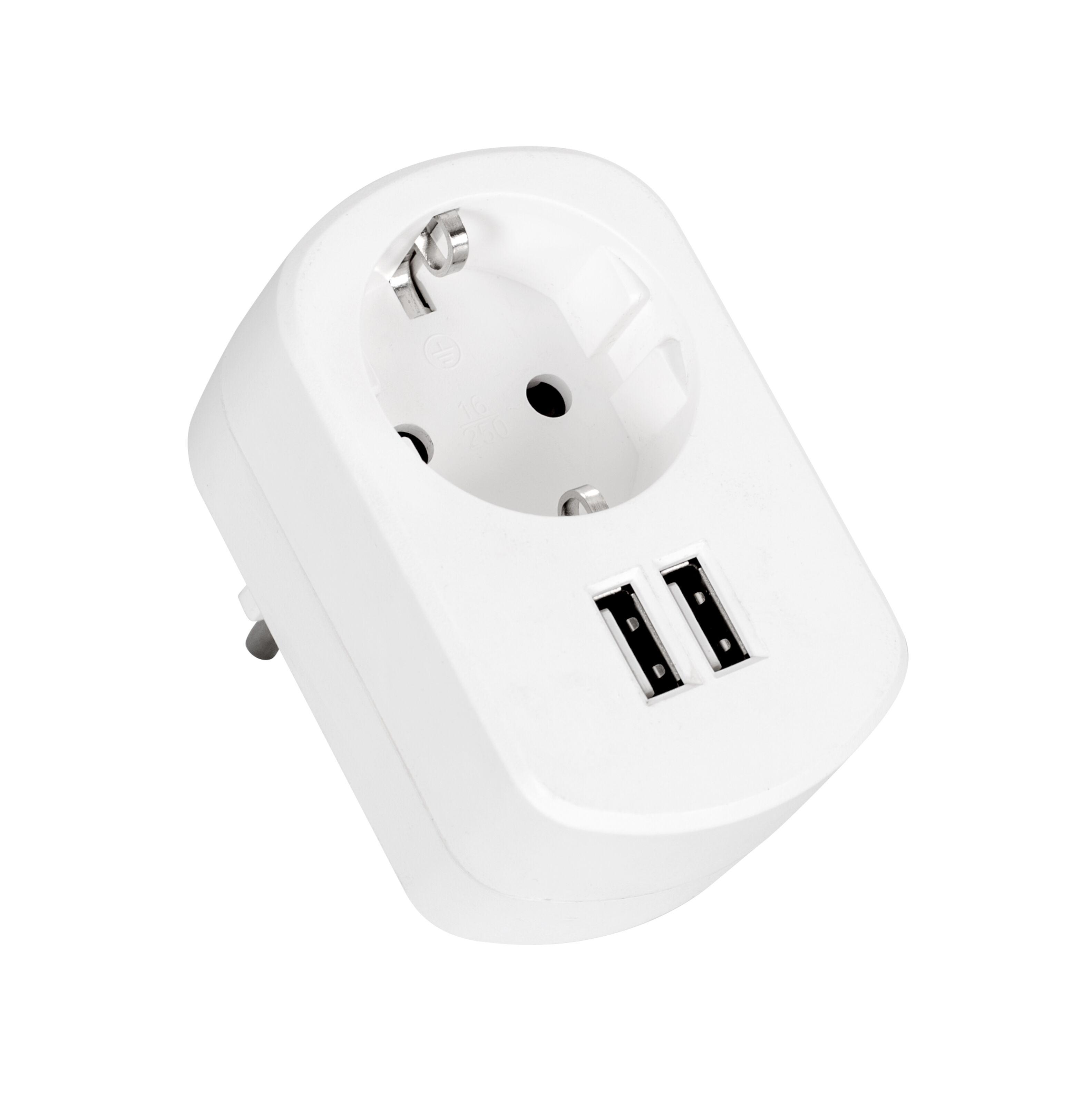 3,1 A USB laddare med genomgångsuttag 2 portar