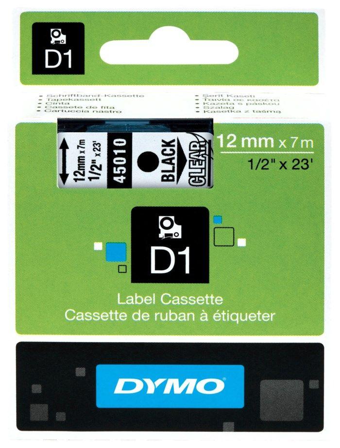 Dymo D1-märktejp 12 mm Klar