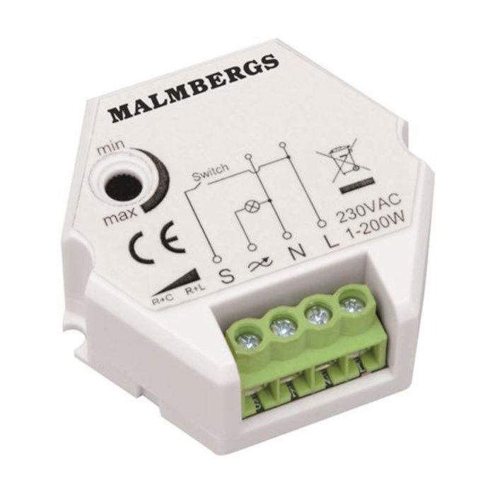 Malmbergs Dosdimmer för lågvoltshalogen- och LED-ljus 1-200 W
