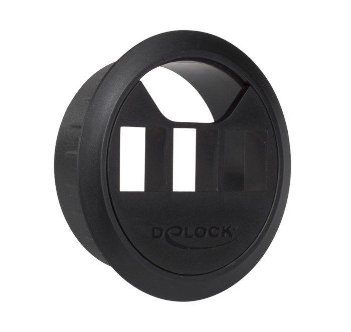 Kabelgenomföring med Keystone-uttag 59 mm Svart