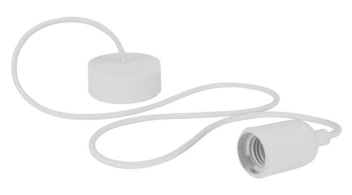 Lamphållare med textilkabel Vit