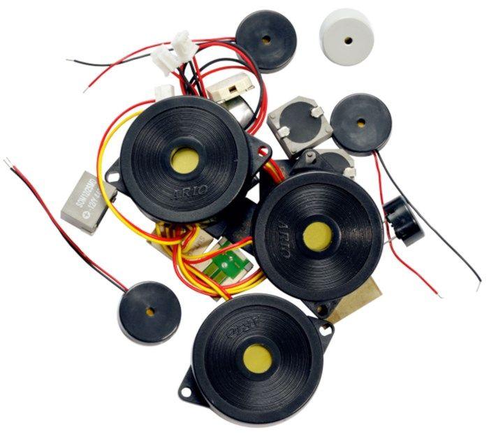 Sortiment med piezo-högtalare och mikrofoner