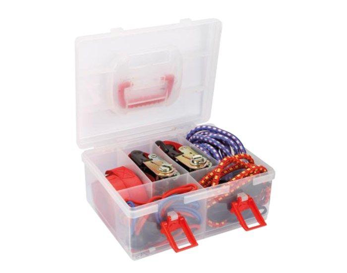 Låda med spännband, lastspännare och bagagestroppar