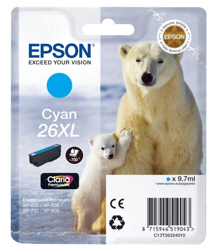 Epson T2632 XL Bläckpatron Cyan