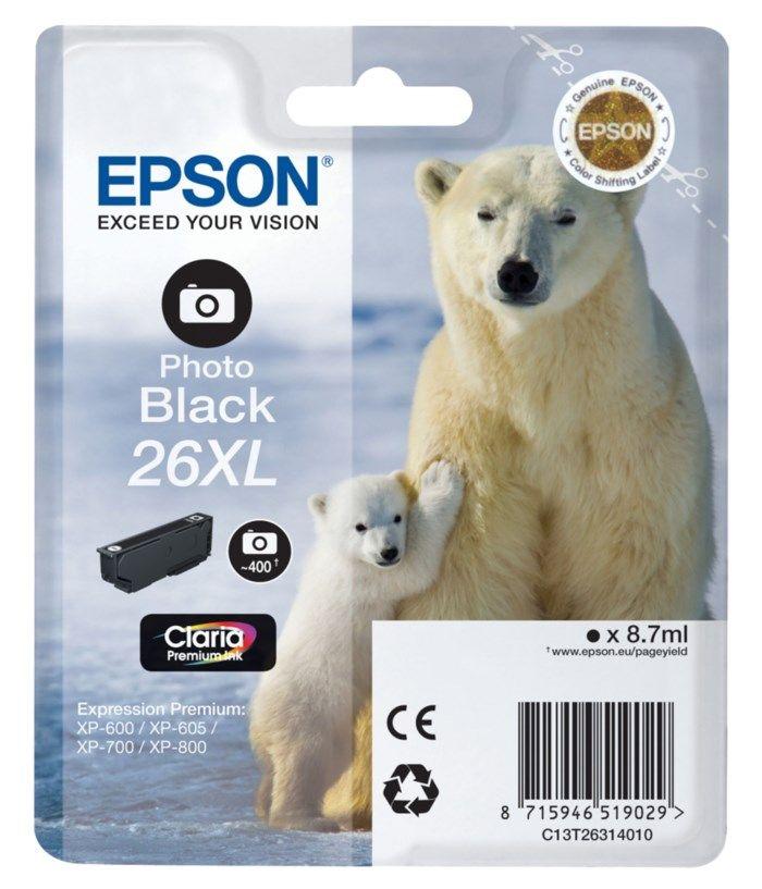Epson T2631 XL Bläckpatron Fotosvart