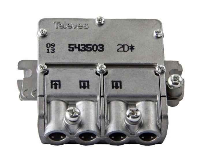 Televes Easy-F mini F-splitter 3-vägs. F-splitter med Easy-F och DC-pass