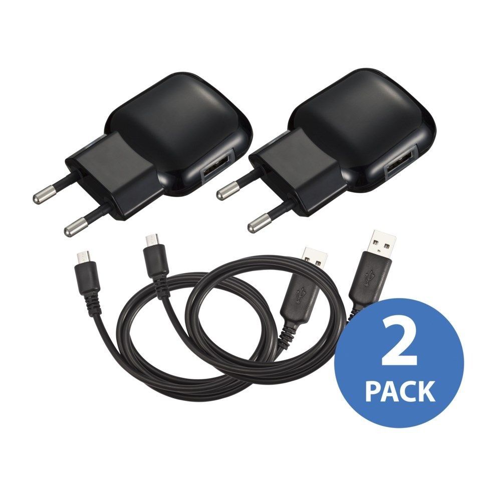 Linocell 2-pack USB-laddare med Micro-USB-kabel 2,4 A