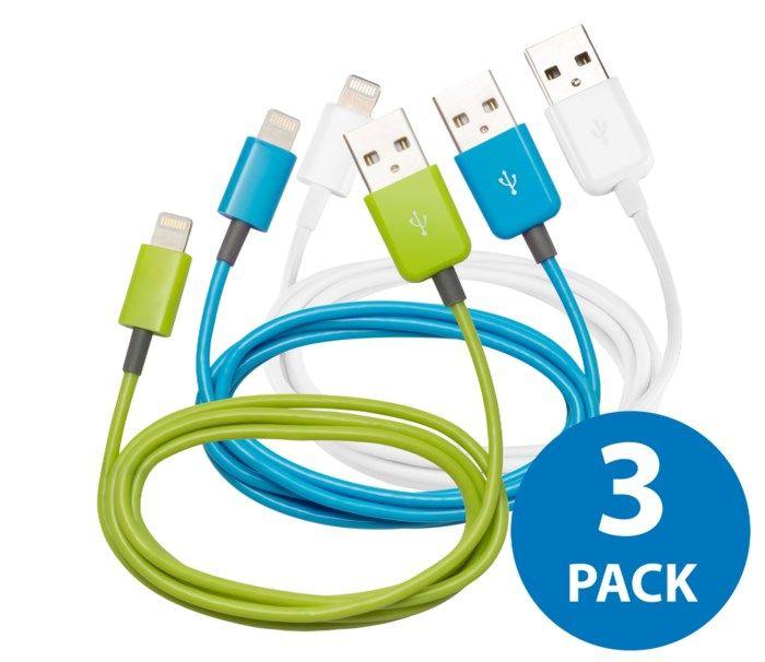 Linocell 3-pack Lightning-kabel 1 m Vit, grön och blå