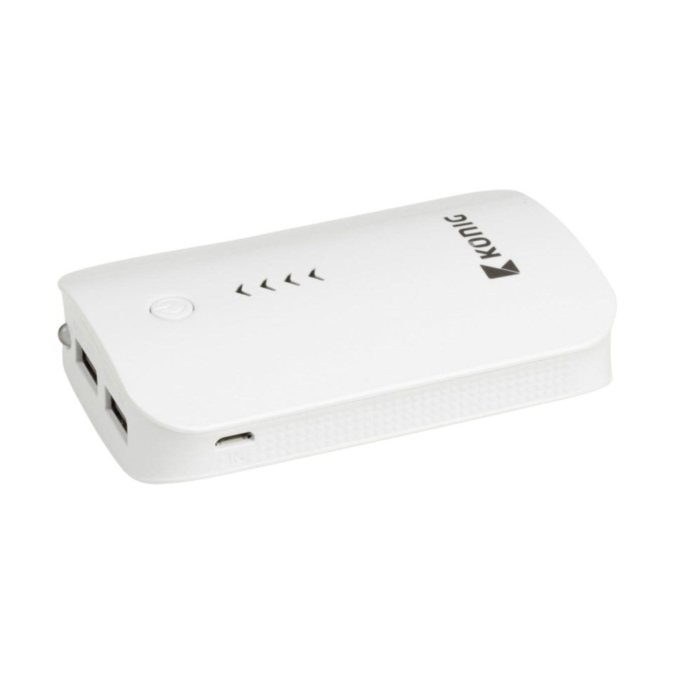 Powerbank med to USB-porter 7800 mAh Hvit