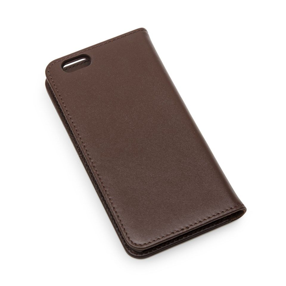 Linocell Leather Wallet Mobiletui i skinn for iPhone 6 og 6s Mørkebrun