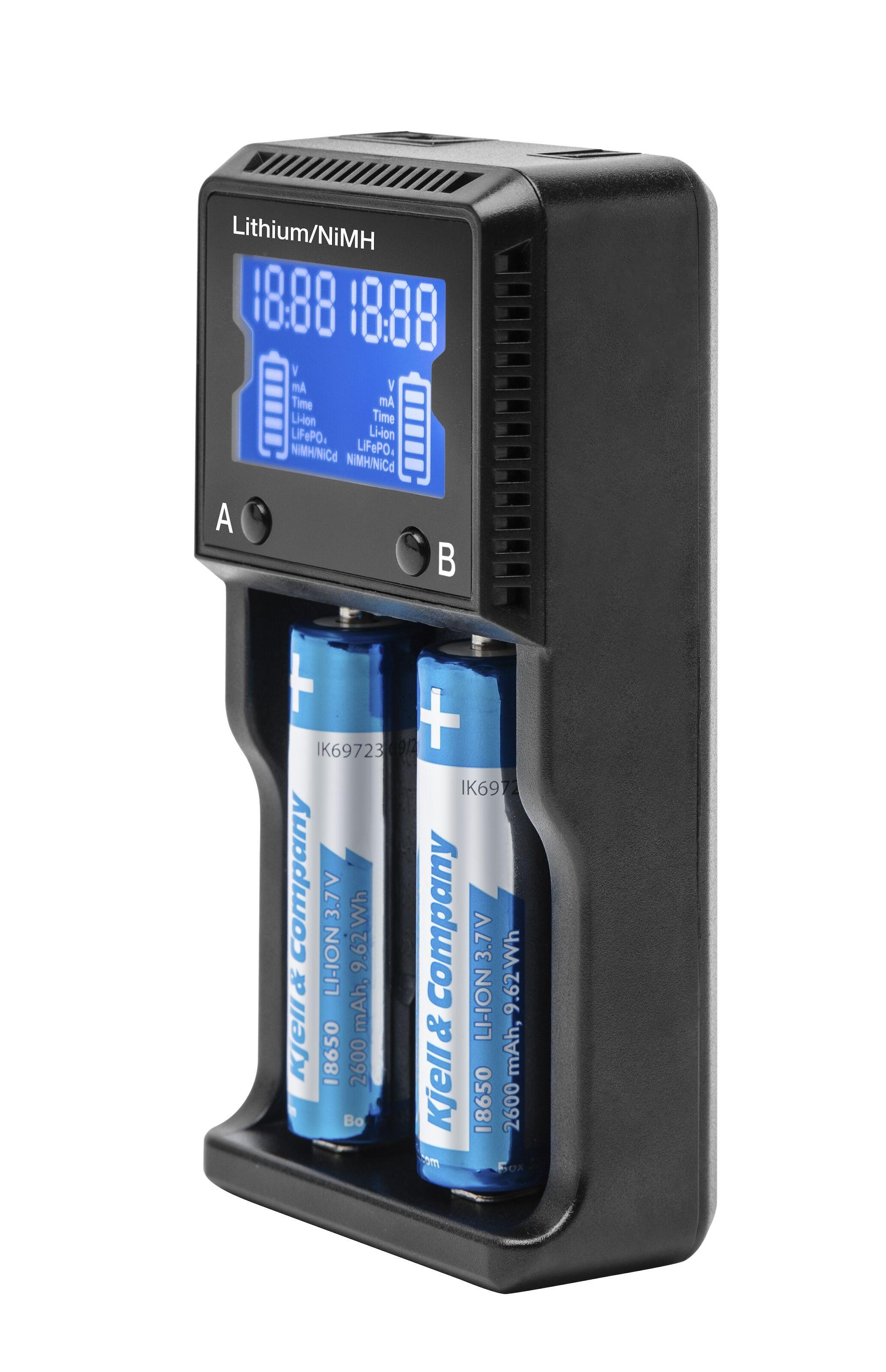 Batterilader for 18650 litiumbatterier NiMH, NiCd, Li jon