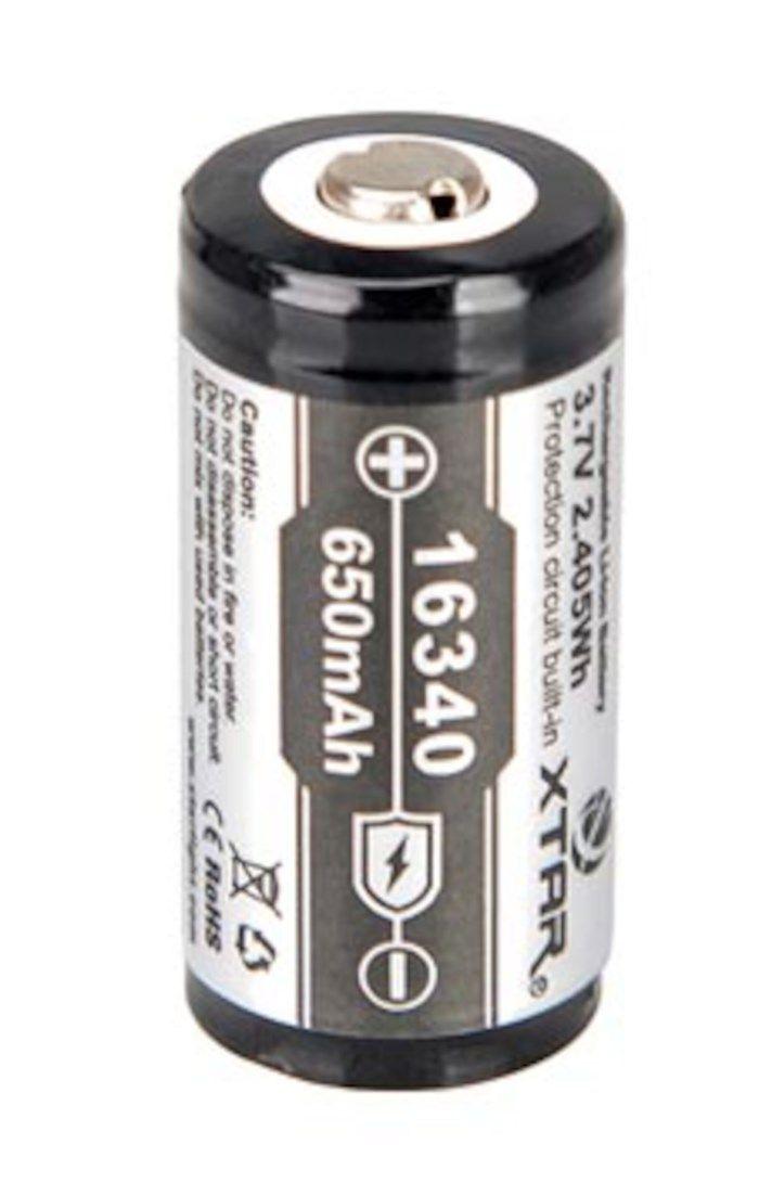 16340 Li-ion-batteri 3,7 V 650 mAh