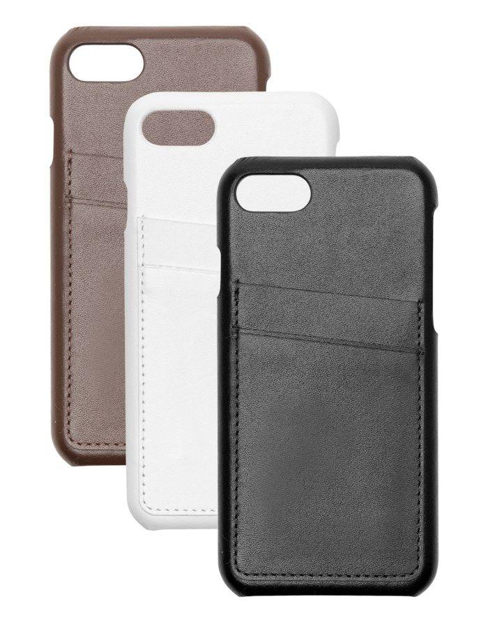 Linocell Leather wallet case Plånboksskal för iPhone 7, 8 och SE Svart