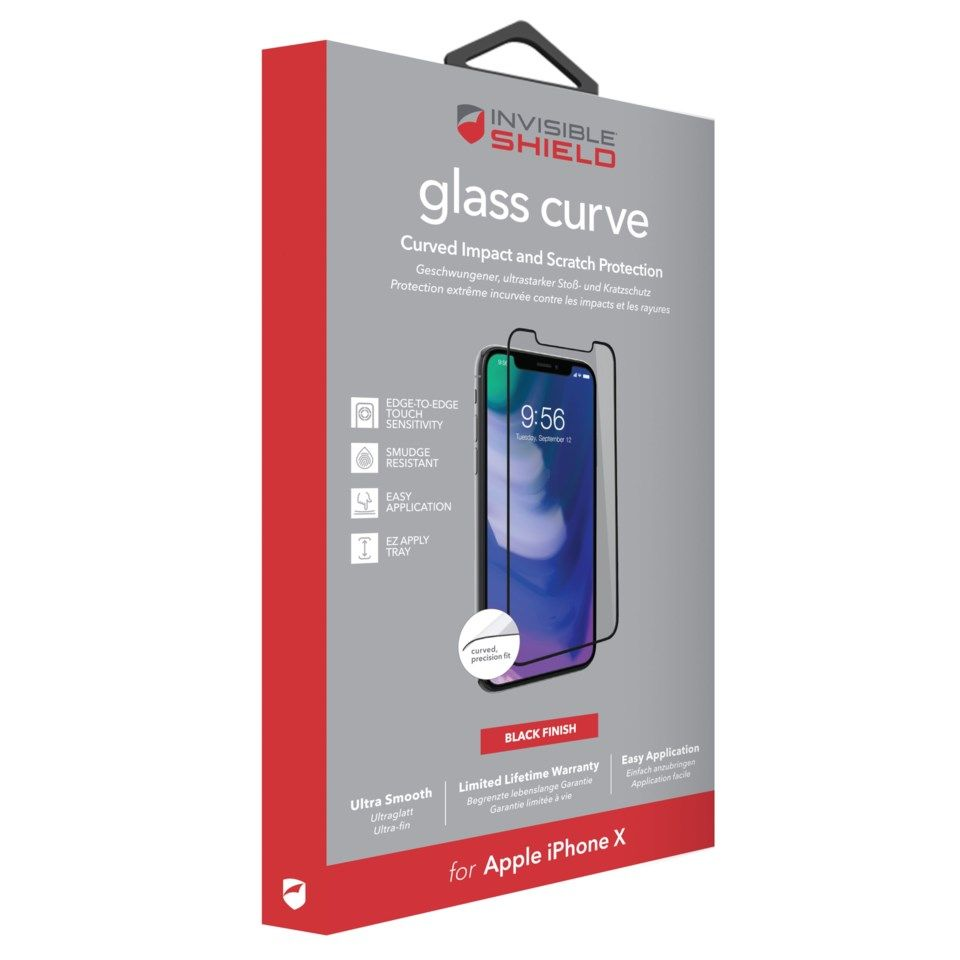 Invisible Shield Glass Contour Skjermbeskytter for iPhone X og Xs