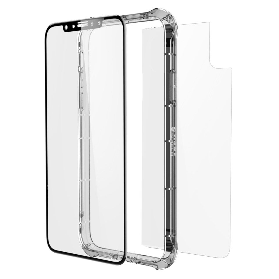 Invisible Shield Glass Contour Full body-skjermbeskytter for iPhone X og Xs Svart