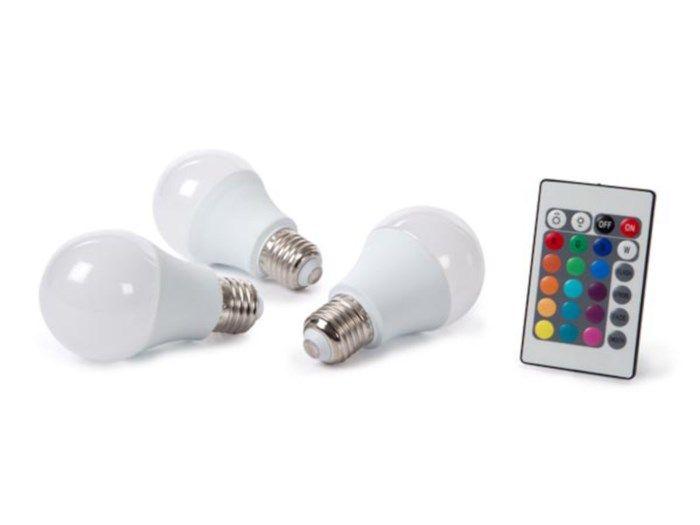RGB-lampa med fjärrkontroll E27 500 lm 3-pack