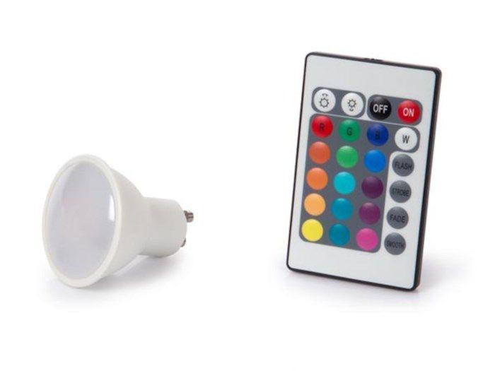 RGB-lampa med fjärrkontroll GU10 220 lm