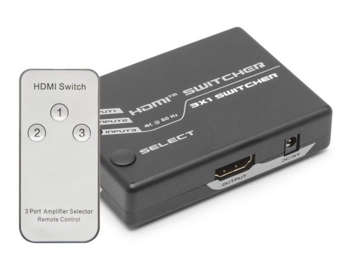 Luxorparts 4K HDMI-switch med fjärrkontroll 3-vägs