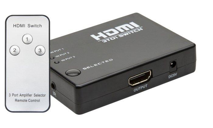HDMI-switch med fjärrkontroll 3-vägs