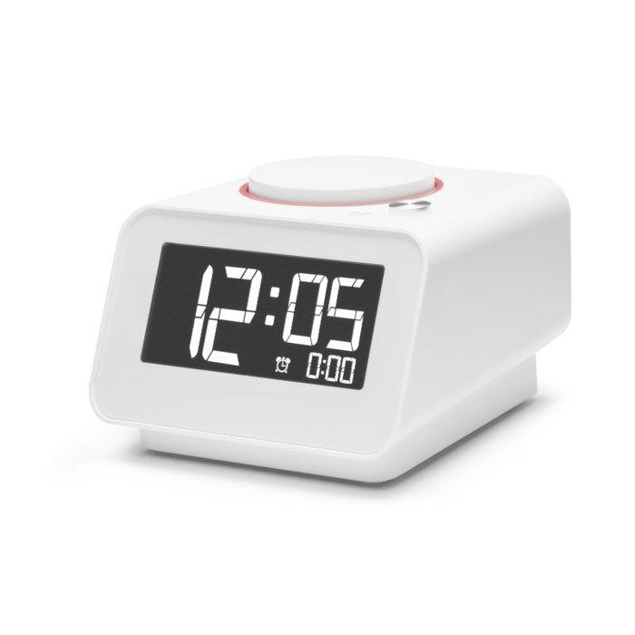 Väckarklocka med USB-portar Vit