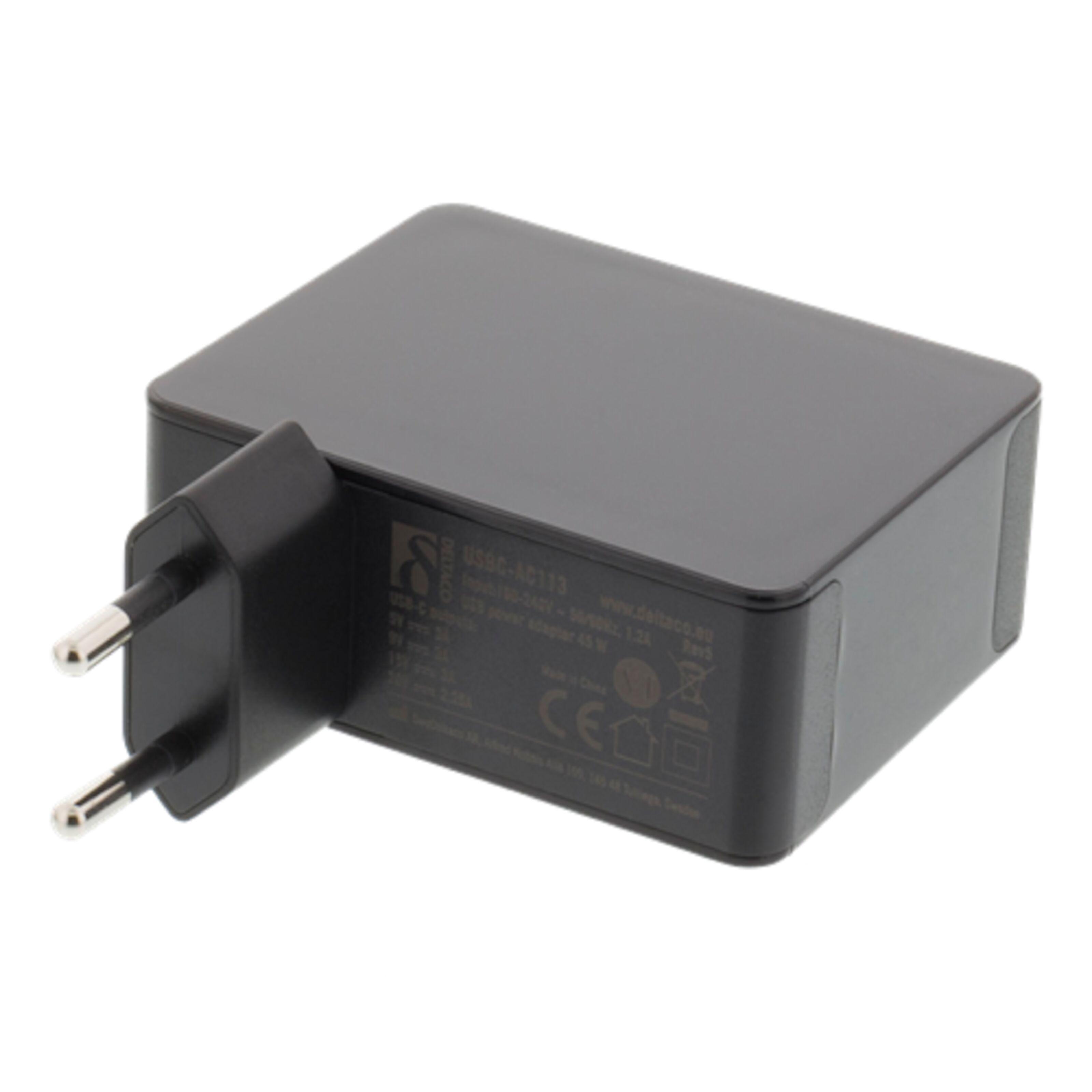 USB C PD laddare Svart