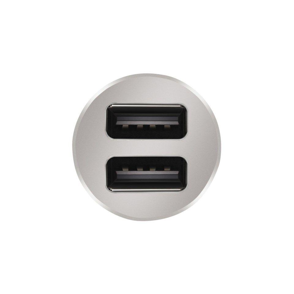USB billaddare med dubbla USB portar 4,8 A Silver