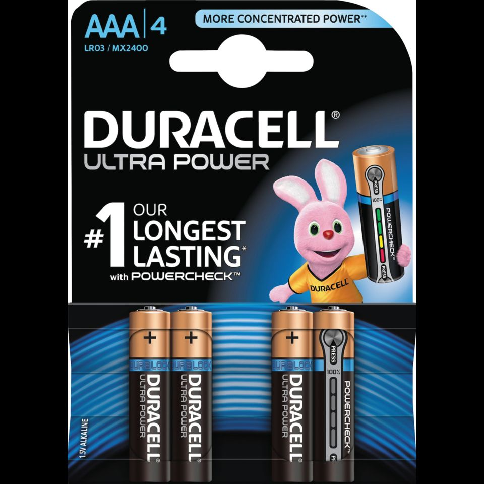 Duracell Ultra Power AAA-batterier (LR03) 4-pack