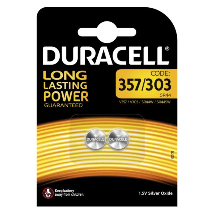 Duracell Knappcellsbatteri SR44 (357) 2-pack