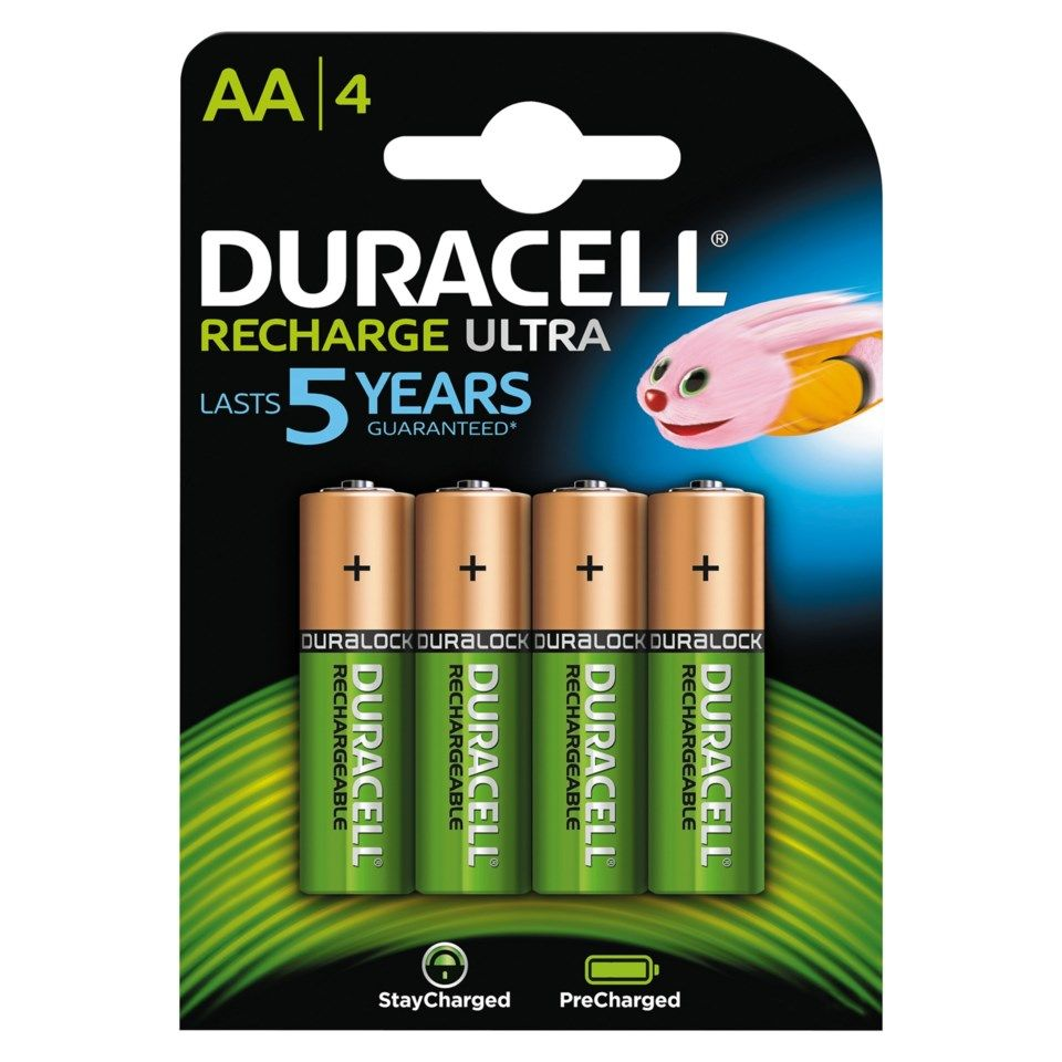 Duracell Recharge Ultra Power Laddningsbara AA-batterier 2500 mAh 4-pack