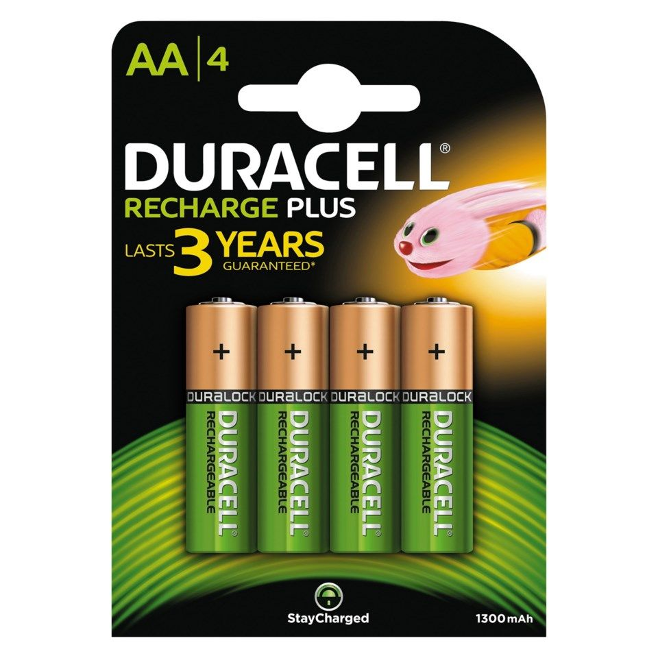 Duracell Recharge Plus Power Laddningsbara AA-batterier 1300 mAh 4-pack