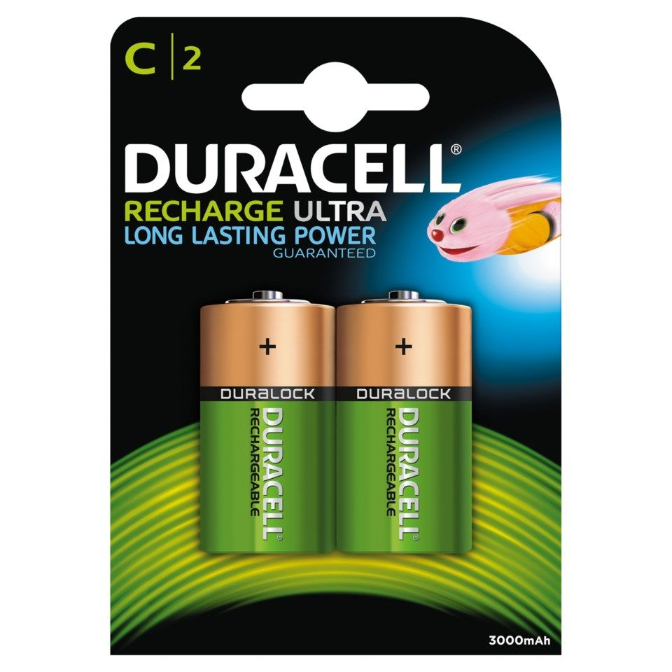 Duracell Recharge Ultra Power Laddningsbara C-batterier 3000 mAh 2-pack
