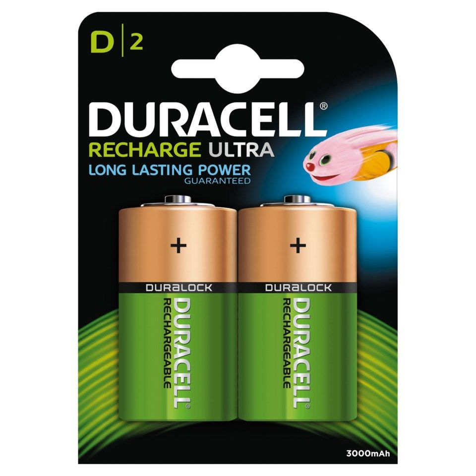 Duracell Recharge Ultra Power Oppladbare D-batterier 3000 mAh 2-pk.