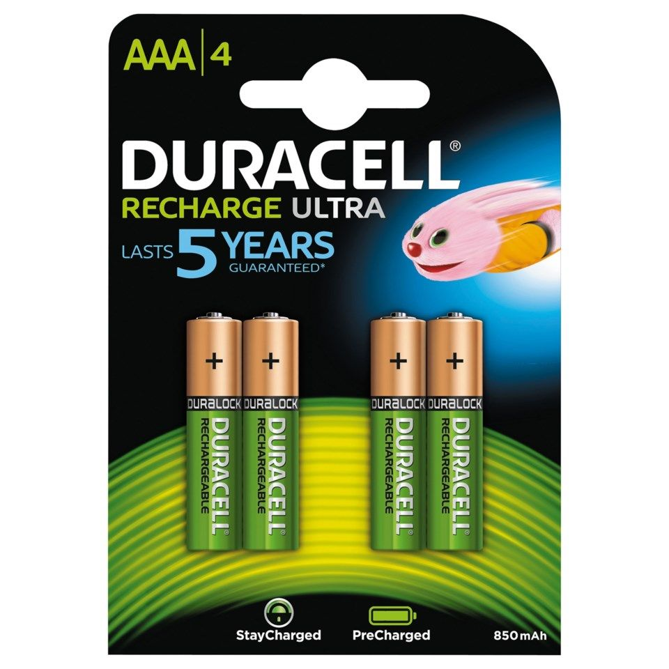Duracell Recharge Ultra Power Laddningsbara AAA-batterier 850 mAh 4-pack