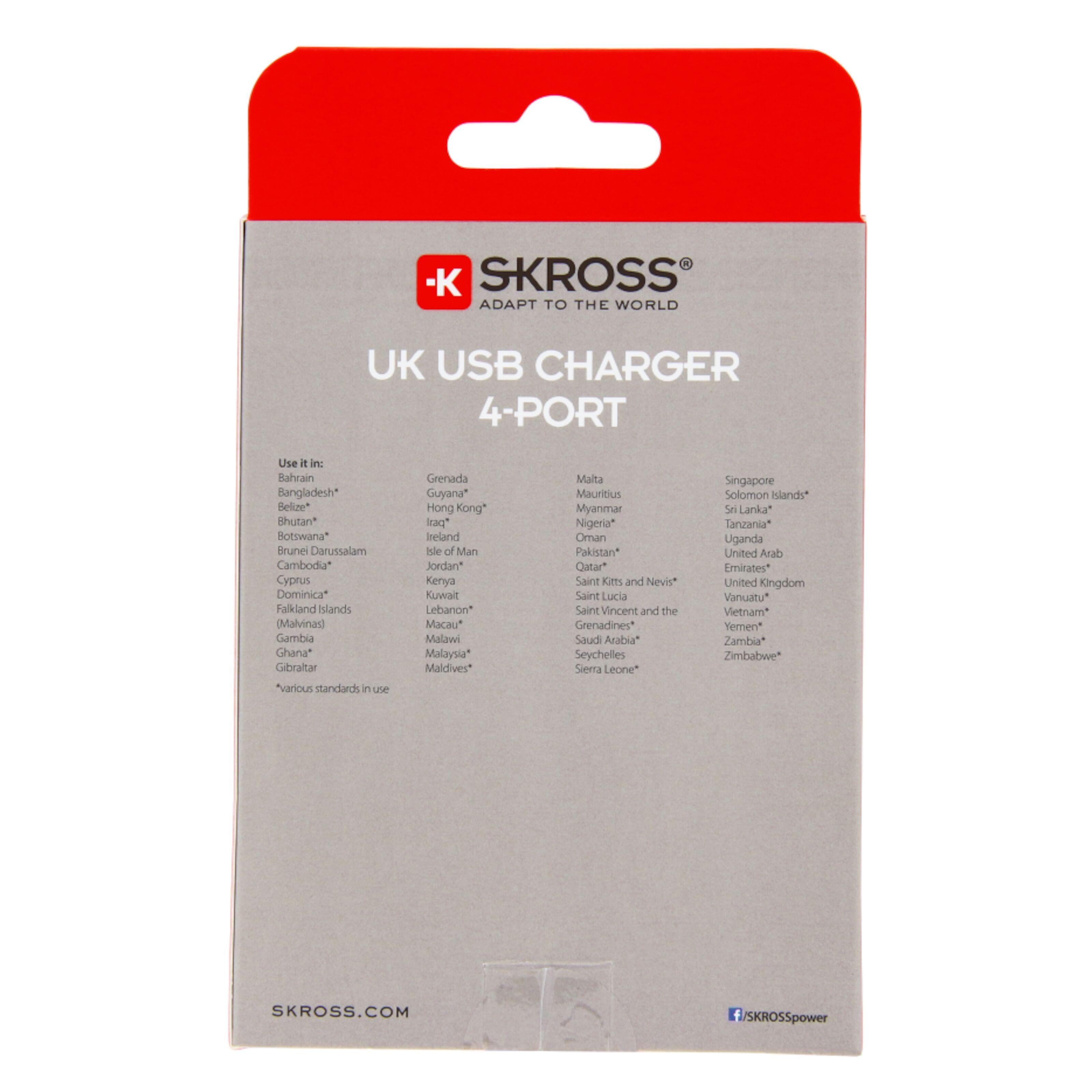 SKROSS, USB laddare 2 port 3,4A UK